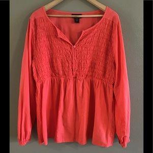 Lane Bryant Long Sleeve Coral Shirt